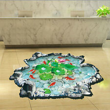Fish Pond Lotus Floor Sticker Wall Decals Removable Kids Bathroom Decor #2