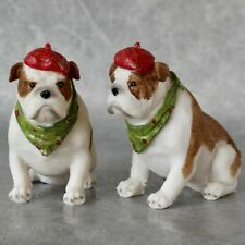 NF LIVING Hand Painted English Bulldog with beret Christmas Figurine 10cm NEW