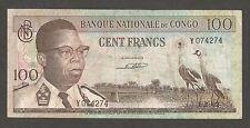 Congo Dem. Rep. 100 Francs 1.2.1962; VF; P-6a, L-B203d; Crowned cranes