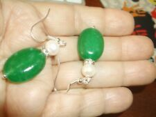 Earrings--Jadeite and pearl faux drops--darling!, New!