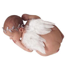 Girls Boys Angel Wings Baby  Leaf Headband Photo Photography Props Set White E9P