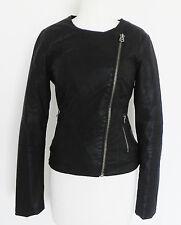 TOP SHOP Jacket Faux Leather Biker Black Size S/M