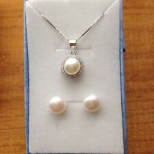 Genuine 7-8mm Cultured Freshwater Pearl Necklace and Earring Set S925 Silver