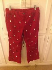 Lands' End girl's red corduroy pants with embroidered snowmen size 10+