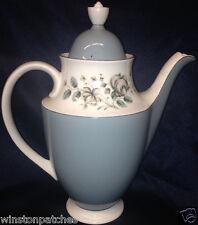 ROYAL DOULTON ROSE ELEGANS COFFEE POT 48 OZ BLUE & WHITE WITH PINK FLOWERS