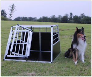 Double Dog Crate Aluminium Transport Carrier Travel Box Car Cage Double Door XL