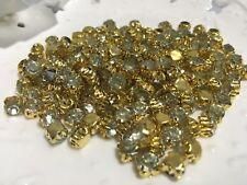 100pcs 5.8mm Clear Sew on Gold Claw Crystal Rhinestone Diamonte wedding/craft