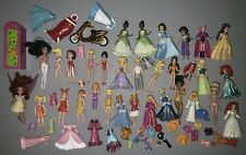 Lot of Disney & Polly Pocket Doll Figures, Various Princess Characters Fairies