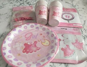 Its a Girl Pink Party Set Plates Cups Foil & Latex Balloons Hanging Decorations