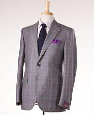 NWT $3495 SARTORIA PARTENOPEA Gray-Orange Check Flannel Wool Suit 38 R (Eu 48)