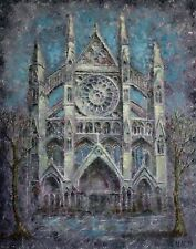 Original oil painting on deep canvas. Architecture.Westminster Abbey.