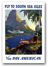 TW41 Vintage Fly To South Sea Isles Pacific Travel Airlines Poster A2/A3