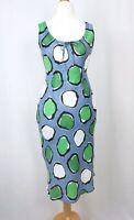Hobbs Blue, White & Green Polka Dot Linen Dress UK Size 10 Pockets