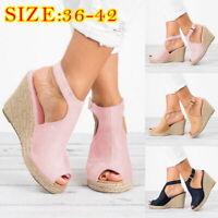 Women Peep-Toe Hollow Out Buckle High Wedge Heels Sandals Flat Platform Shoes