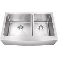 "16G Farmhouse Double Bowl Stainless Steel Kitchen Farm Sink Apron Front 10"" Deep"