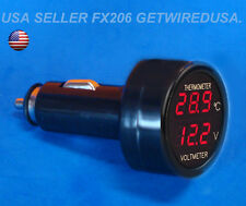 DIGITAL VOLTAGE & TEMPERATURE METER CAR CIGARETTE LIGHTER THERMOMETER VOLT GAUGE