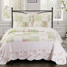 Soft Toned Traditional Upland Floral Design Sweet Home Quilted Coverlet Set