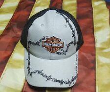 HARLEY DAVIDSON BARBED WIRE ORANGE BAR SHIELD TRUCKER MESH HAT CAP New
