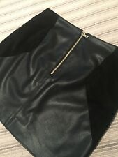 River Island Leather / Suede Black Mini Skirt Polo Neck Size 10