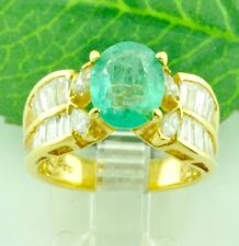 14k Solid Yellow gold Natural Oval Emerald Diamond Ring 2.80 ct  Baguette