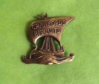 Vintage J R Gaunt - CRAWFORD'S BISCUITS Viking Long Boat pin badge / brooch