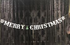 MERRY CHRISTMAS glitter  silver snowflake tree paper Banner Festive party decor