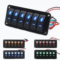 6 Gang LED Rocker Switch Panel Circuit Breaker USB Charging Port Car Marine Boat