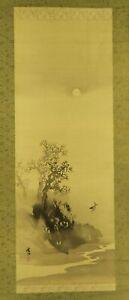 "JAPANESE HANGING SCROLL ART Painting ""Deer under Moon"" Asian antique  #E6315"