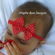 Red w/ White Dots Dainty Hair Bow Headband 4 Preemie Newborn Toddler Valentine