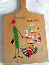 Vintage Mid-Century WOOD Cutting Board 1950s Lady Shopping NAVCO