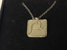 """Kangaroo Crossing Sign GT212 Pewter On 16"""" Silver Plated Curb Necklace"""