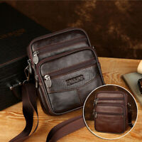 Vintage Men's Genuine Cow Leather Messenger Bags Cross Body Handbag Shoulder-Bag
