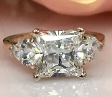 4.27Ct Princess cut Three stone Diamond Engagement Ring Solid 14K Yellow Gold