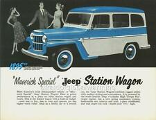 Old Print.  Blue/White 1958 Willys Jeep Maverick Special Station Wagon