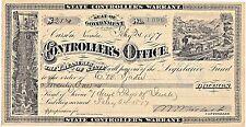 1877 $21 State Controllers Warrant Carson Nevada Legislative Fund