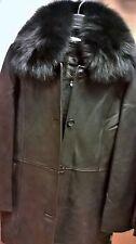 Knoles&Carter Womens Leather Coat SZ L Italian Lambskin Fox Fur Collar NWT $499