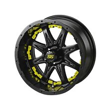 "4 Golf Cart 10"" Matte Black Revenge Wheel W/Yellow Inserts"
