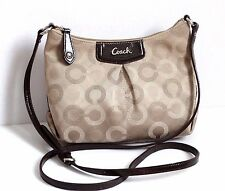 Cute COACH Ashley Crossbody Dotted Op Art  Swingpack Gray Adjustable Khaki