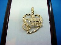 """14K YELLOW GOLD """"SOMEONE SPECIAL"""" HEART-SHAPED PENDANT-CHARM 1.7GR  24 x 17.2 MM"""