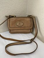 Fossil Tan Brown Leather Re-Issue Top Zip Flap Crossbody Handbag