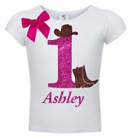1st Birthday Girl Shirt Cowgirl Boots Hat Personalized Name 1