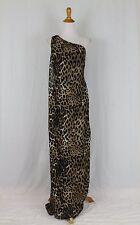 BOSTON PROPER Leo Paw Drape Leopard Print One Shoulder Jumpsuit Dress 4 NWOT