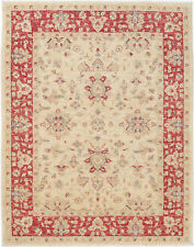 5X7 Hand-Knotted Farhan Carpet Traditional Ivory Fine Wool Area Rug D44078