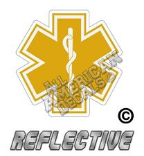 """1 -  EMT (GOLD) Star of Life 5"""" inch Reflective Decal Sticker"""