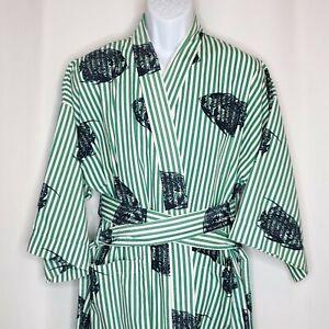 Vintage 90s Nautica Belted Robe Sz OS Green White Stripe Navy Blue Fish