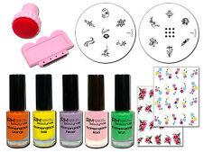 Frühlings Stamping Set mit 5 Stamping Lacken Konad M4 und M6 2 Sticker Stempel