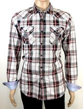 Guess Size M Men Western Shirt Slim Fit L/S W/Pearl Snaps Silver Threads 2 Pocke