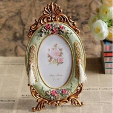 Oval Gold Framed Photo Frame Retro European Style With Rose Flower Decoration