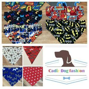 Handmade Dog Bandana Slide on Collar Neckerchief different designs size L M S
