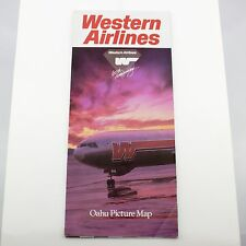 Vintage 1986 Western Airlines 60th Anniversary Oahu Picture Map